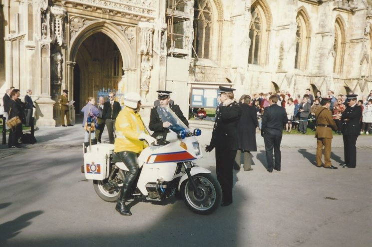 Superintendent Phil Sullivan and Inspector Roger Grigg talking to Martyn Hillier outside Gloucester Cathedral at the Service of Thanksgiving for the Gloucestershire Regiment 1994. Inspector Mike Smith at the far right of the picture. (Gloucestershire Police Archives URN 6083) | Photograph from David Morgan