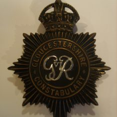 Black helmet plate from reign of George VI 1936-1952 (Gloucestershire Police Archives URN 6110)