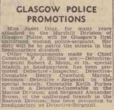 Glasgow Police Promotions newspaper clip