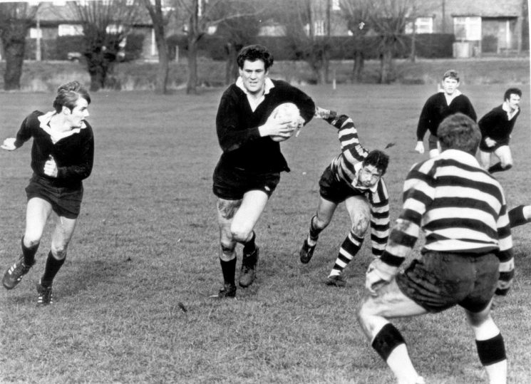 Gloucestershire Constabulary Rugby team playing the Gloucestershire Regiment team 1980.  Officers in photo left to right - Police Constables Paul Smithson, Michael Francis, Ron Etheridge (Captain). (Gloucestershire Police Archives URN 1205)
