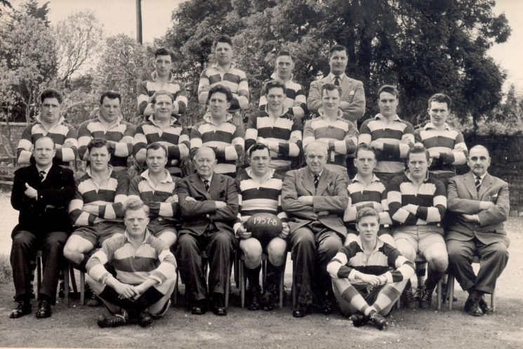 Gloucestershire Constabulary Rugby Football Team 1957/58 Back Row Lleft to right : T Jones; G Eliason; R Parfitt; Don Trapp Middle row: M Endy; Don Say; E Watkins; John Day; Peter Scott; G Hodder; W Whitmore; A Smith Front Row: Athur Harris; David Jones; C Thomas; Colonel Henn (Chief Constable); John Watkins; Assistant Chief Constable; R Willetts; Michael Ruddy; J Terry; Robert Price; Ronald Pearce (Gloucestershire Police Archives URN 1206)