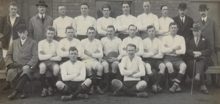Gloucester Police Rugby team. Back row left to right - A. T. Voyce; Police Constables Hayward; Morris; Hyam; Detective Constable  Hart; Police Constables Grinnell; Creed; Lodge; Inspector Williams; A.W. Hopkins. Middle Row left to right Deputy Chief Constable A. W. Hopkins; Police Constables  Willmott; S. Smith; Dobbs; Gladwell; Crowther; Morse; Hicks; C.E. Gardner, Mayor. Front row Police Constables  Greenslade; Hancock. (Gloucestershire Police Archives URN 1283)