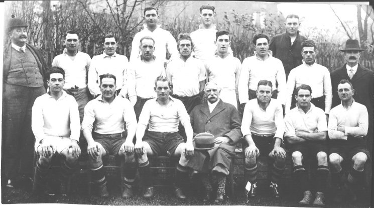 Gloucestershire Police rugby team Back row left to right : Reg Townsend; Fred Statham; unknown. Middle row left to right: Man in hat unknown; Superintendent Gordon Shelswell; A. Cleveland, unknown, Harry Drinkwater(?); 2 unknown, E.L. Wheeler, W. Hart, Man in Hat unknown; Front Row: 3rd from left: G. Merry, A.W. Hopkins,  Albert Coulston, Others in the picture may be  F. Morris  A.J. Lambert, R.Townsend, A. Rogers,  Wicks, H.Pitts, F. Taylor (Gloucestershire Police Archives URN 1284)