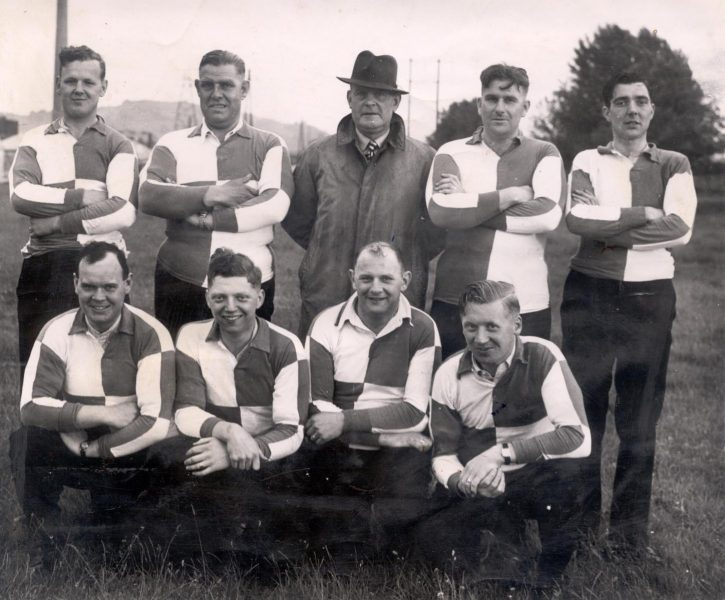 7 a side rugby team Standing left to right  Police Constables Bert Kingscote;  Cecil Birch; unknown; unknown; unknown; Front row second left - Police Constable Eric Sandells. (Gloucestershire Police Archives URN 1292)