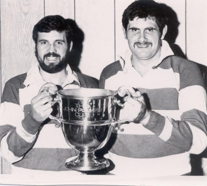 Police Constabless Richard Jardine and John Fidler holding the John Player cup for rugby, both played for Gloucester. (Gloucestershire Police Archives URN 1223)