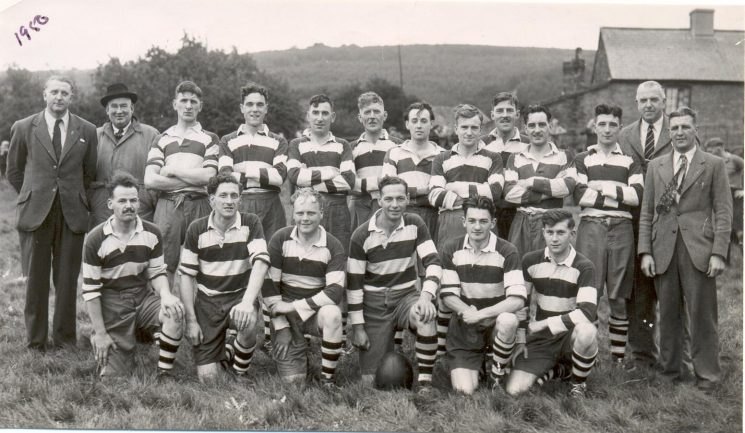 Gloucestershire Police  Rugby team. Standing left to right  - . Anderson; A. V. Hancock; Peter Blake; J. Hopkins; Reginald Matthews; I Jones;K. Tuck; C. Thomas; W. Rowlands; G. Miles; T. Jones; Assistant Chief Constable A. H. Carter; Sidney Dangerfield. Front row; unknown. Barton. Frank Coombes; K. Clark; Harold Gribble; P. Allen; David Webley. (Gloucestershire Police Archives URN 1325)
