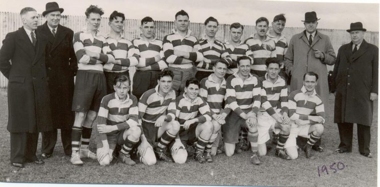 Gloucestershire Police  Rugby team.v. Worcestershire 1950. Back row left to right - William Hart; A. Hancock; John Hatton; William (Bill) Jelf; John Watkins; C. Willett; unknown; Cyril Thomas; William (Bill) Rowlands; Peter (Nomper) Blake; Assistant Chief Constable A. H. Carter; Chief Superintendent Wakefield. Front row - Kenneth Hudman; J. Hopkins; unknown; G. Parker; Harold Gribble; Frank Coombes; Gordon Shellswell. (Gloucestershire Police Archives URN 1326)