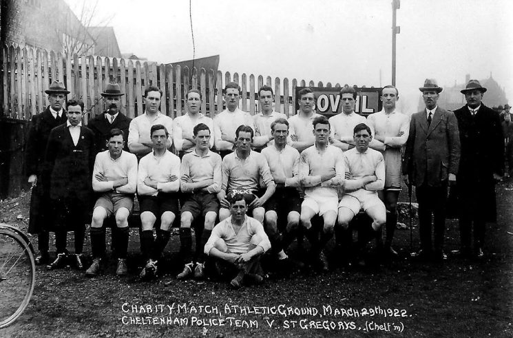 Police rugby team - charity match between Cheltenham police and St Gregory's at the Athletics Ground. Police Constable  Harry Olpin back row, second player from the left. (Gloucestershire Police Archives URN 1703)