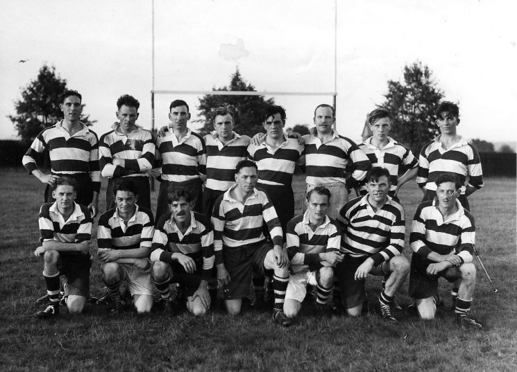 Force Rugby Team Back row left to right :  Jim Hopkins, Alan Smith, Reg Matthews, Cyril Thomas, Jack Watkins, Fred Harris, Ken Hudman, Bill Jelf Front row left to right : unknown,  Pete Allen, Bill Rowlands, Harry Gribble, Gordon Shelswell, Cam Willet, Frank Coombes (Gloucestershire Police Archives URN 1758)