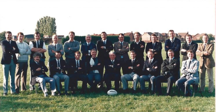 Gloucestershire Constabulary Rugby Players reunion - 150th anniversary. Past players 1960 - 1970: Back row left to right: Richard Jardine; D Turner; Nigel Francis; Eric Powell; Cyril Smith; Richard Hall; Bob Creed; Peter Shayle; Martyn Cambridge; Barry Williams; Terry Keyse; David Brookes; Alan Pocket; Front row left to right; Terry Short; David Ainge; Michael Pennington; Wyn Morris; Deputy Chief Constable Lou Whitton; David Price; Peter Sharpe; Ken Jones; A Maunder (Gloucestershire Police Archives URN 1860)