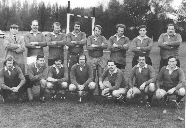 Police Rugby Team 1970s Back row left to right: George Vaile; Tiddy Ferris; Kevan (Kiwi) Price (Gloucestershire); Wayne Murdock (Gloucestershire); Hopson (Gloucestershire); Gilbert Jenkins (Gloucestershire); Donald Wyman (Gloucestershire); Peter Stubbs. Front row left to right: unknown; unknown; Ray Hopkins (Gloucestershire); Brian Absalom ); Peter McKenna (Gloucestershire); Pat Eliis (Gloucestershire) Brian Holtham; (Gloucestershire Police Archives URN 1864)