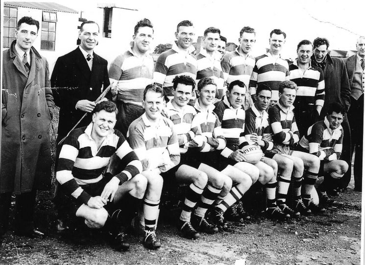 Gloucestershire Constabulary rugby team early 1960s. Back row left to right: Trevor Jones; Harold Gribble; John Day; Campbell Willett; Roy Watkins; Don Say; John Pocket; Jerald Hodder; Ken Hudman; Peter Scott; Don Anderson; Front row left to right : David Jones; Rowland Willetts; unknown; Roger Pearce; John Watkins; Bob Parfitt; Robert Price; unknown. (Gloucestershire Police Archives URN 2405)