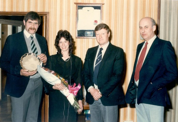 Retirement of PC J. Fidler Left to right  Police Constable J. Fidler; Mrs Fidler; Chief Superintendent P. Dadge and Assistant Chief Constable H. Reynolds Police Constable Fiddler won an English Rugby Cap and retired on ill-health in 1985 (Gloucestershire Police Archives URN 427)