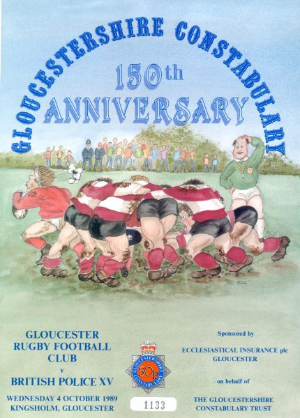 Gloucestershire  Constabulary  150th Anniversary event - Gloucester Rugby Football Club versus The British Police XV at Kingsholm, Gloucester on the 4th October, 1989 (Gloucestershire Police Archives URN 542)