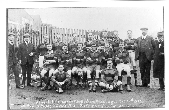 Cheltenham Police Rugby team in benefit match for the unemployed, 1923   - shows Police Constable FF Taylor in back row sixth from left. (Gloucestershire Police Archives URN 566)