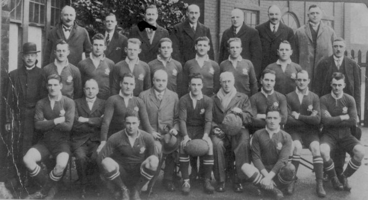 British Police Rugby Union team versus the Army in 1928.   Shows Police Constable  F. F. Taylor seated in centre row seventh from left. (Gloucestershire Police Archives URN 567)