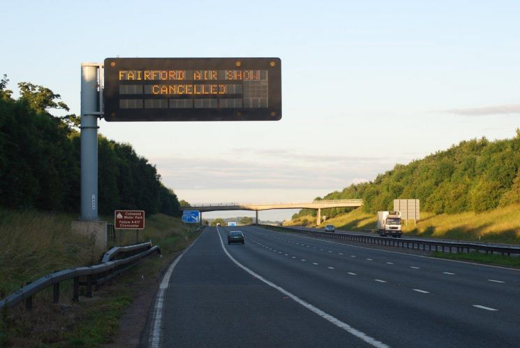 Matrix sign on the M5 southbound before junction 11A warning those who hadn't heard that the Air Tattoo had been  cancelled 2008.(Gloucestershire Police Archives URN 6743) | Photograph from Simon Edwards