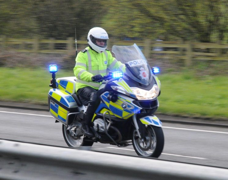 BMW R1200RTP motorcycle ridden by Inspector Kevin Roseblade during an abnormal load escort 2016 (Gloucestershire Police Archives URN 6868) | Photograph from Simon Edwards