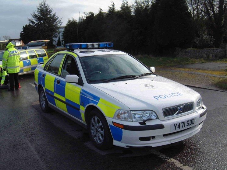 Cheltenham traffic car  2002 with the Accident Investigation Volvo V70 T5 in the background (Gloucestershire Police Archives URN 6877) | Photograph from Simon Edwards