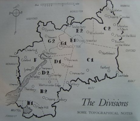 A map of the County's Police Divisions during World War II (Gloucestershire Police Archives URN 6931)