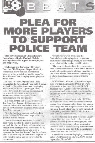 Extract from force magazine Plea for more players for the force rugby team. (Gloucestershire Police Archives URN 6915)