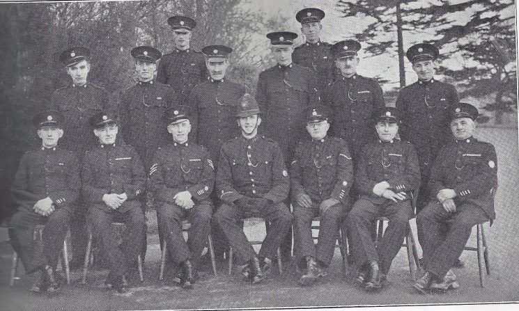 Thornbury Division Falfield Section. Back Row: Special Constables Payne, Pratt P. Middle Row: Special Connstables Pratt G, Tully, Special Sergeant Cullimore, Police Constable Adshead, Head Special Constable Lanham, Special Constables Fuller, Walker. (Gloucestershire Police Archives URN 6965)