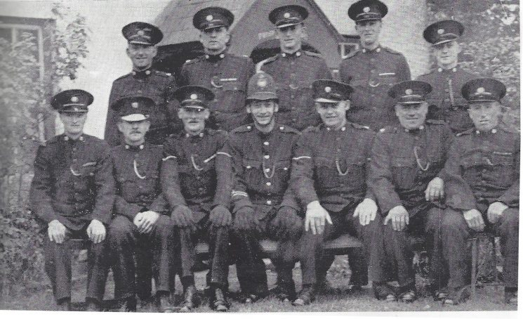 Thornbury Division Hallen Section Back Row:Special Constables Davies, Parfitt, Reed, Mansell, Whitehead. Seated: Special Constables Stokes H, Clifford, Head Special Constable Harris, Police Constable Payne,(Gloucestershire Police Archives URN 6966)