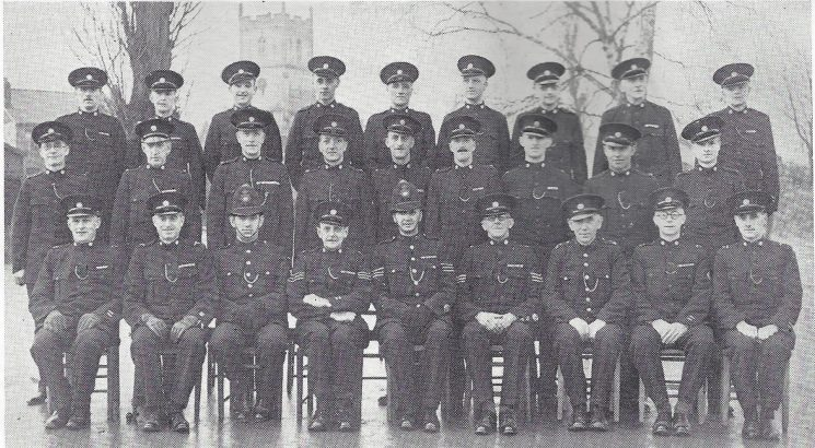 Cheltenham Urban Division Charlton Kings Section. Back row: Special Constables Bartlett, Snoad, Mobley Head Special Constables Cleevely, Oliver, Special Constable Scotton, Head Special Constable Ball Special Constables Randell, Parr. Middle row: Special Constables Davidge, Strickland, Peart, Yearp, Taylor, James, Newman, Young, Davage. Seated: Head Special Constables Williams, Hares, Police Constable Brett, Special Sergeant Cox, Police Sergeant Lewton, Special Sergeant Burke, Police War Reserve Brazener, Head Special Constable Gilbert, Roberts. (Gloucestershire Police Archives URN 7000)