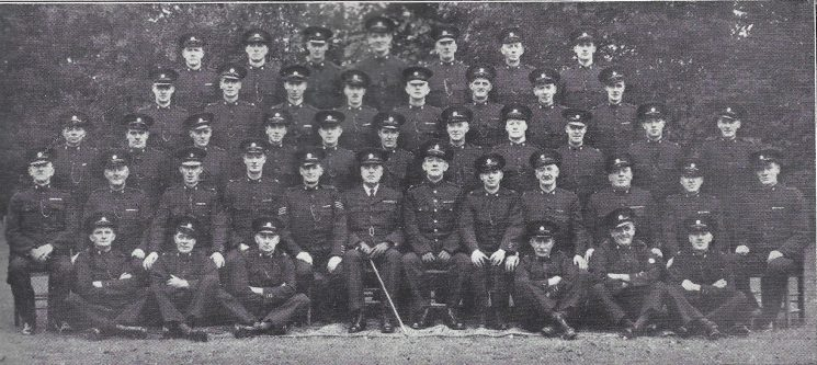 Dursley Division Dursley Section Back row: Special Constables Phelps, Smith E.H, Medcroft E, Griffen, Trotman, Champion, Hill. Second row: Special Constables Ford, Medcroft L, Savage, Barnfield, Evans, Clifford, Edwards, Smith E.G. Third Row: Special Constables Walkley, Bendall, Day, Pattendon, Carter, Hobbs, Phillips, Caddick, Whitfield, Fryer F.C, Owen. Fourth row: Special Constables Woodward, Hancock, Head Special Constables Fryer A.H, Pilsworth, Special Sergeant Chappell, Special Superintendent Hague, Inspector Jones, Head Special Constables Hancock, Thornhill, Special Constables Bruton, Hopkins, Workman. Front row: Special Constables Rogers, Hurd, Titheridge, Workman, Smith A.E, Fryer S.F. (Gloucestershire Police Archives URN 7009)