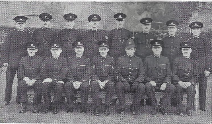 Stroud Division Rodborough Section. Back row: Special Constables King, Roach, Mills, O'Neill, Mortimer, Lyne, Beard, Haines. Seated: Special Constables Neal, Dyerm Head Special Constable Wager, Special Sergeant Lambert, Police Constable Workman, Head Special Constable Chandler, Special Constable Haynes (Gloucestershire Police Archives URN 7028)