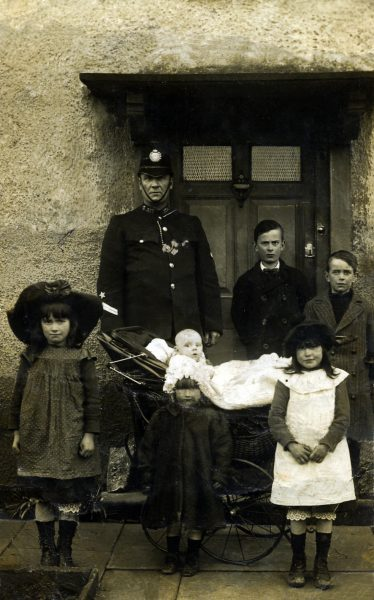 Police Constable 317 Joseph Bateman taken outside Iron Acton Police Station about 1905. (Gloucestershire Police Archives URN 6934)