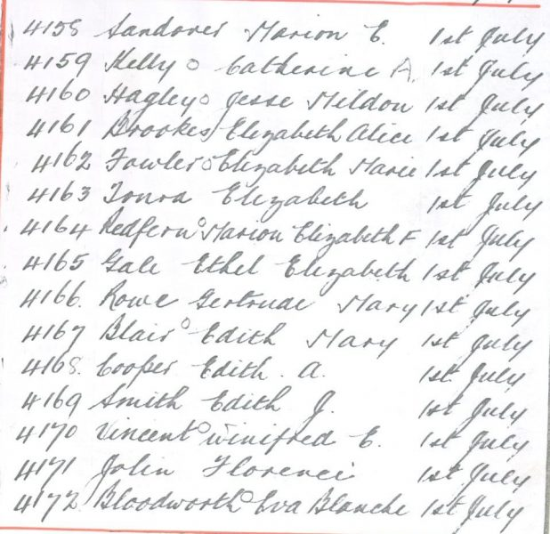 Handwritten list of Women Police transferring to Regular Force on 1.7.1919. Marion E. Sandover; Catherine A. Kelly; Jessie Mildon Hagley; Elizabeth Alice Brookes; Elizabeth Marie Fowler; Elizabeth Tonra; Marion Elizabeth Redfern; Ethel Elizabeth Gale; Gertrude Mary Rowe; Edith Mary Blair; Edith A. Cooper; Edith J. Smith; Winifred E. Vincent; Florence Jolin; Eva Blanche Bloodworth. (Gloucestershire Police Archives URN 103)