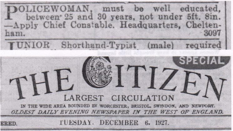 Copy of an advert in the Citizen December 6 1927 for Policewomen (Gloucestershire Police Archives URN 7837)