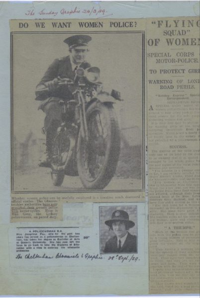 Newspaper articles from 1929 about Gloucestershire women Flying Squad showing Janet Gray on a motor cycle  and Josephine Fay resigning. (Gloucestershire Police Archives URN 7838)