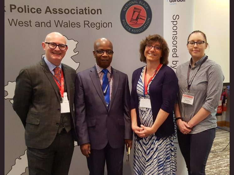 Black Police Associations regional Diversity Conference 2018. Left to right Barry Boffy Head of Diversity and Equality for  British Transport Police. , Tola Munro National Black Police Association President, Bee Bailey. Officer to far right British Transport Police. (Gloucestershire Police Archives URN 7815)