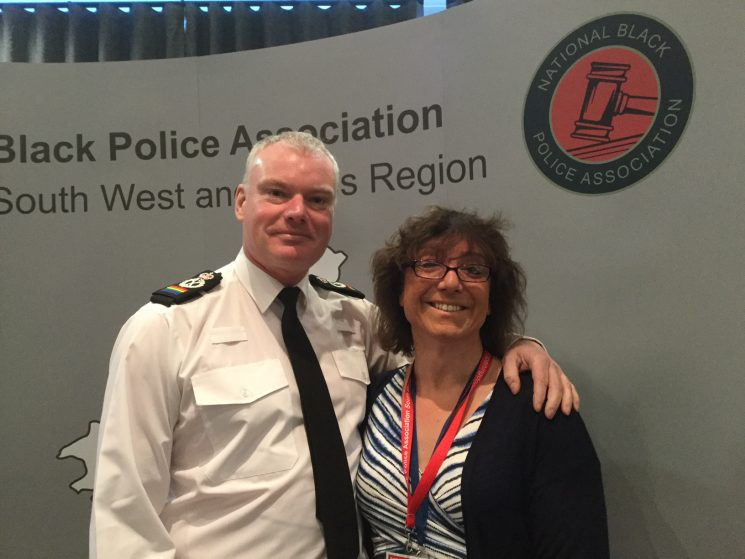 Black Police Associations Regional Diversity Conference 2018. Bee Bailey with Chief Constable for Wiltshire Police Mike Veale. (Gloucestershire Police Archives URN 7816)