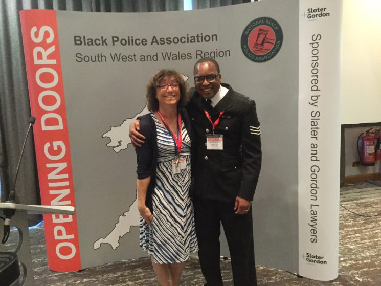 Black Police Associations Regional Diversity Conference 2018 Bee Bailey with Sergeant Ronnie Lungu Chair of Wiltshire Black Police A.ssociation. (Gloucestershire Police Archives URN 7818)