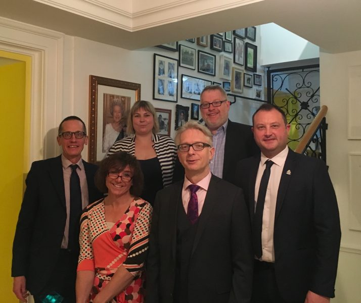 United Nations Macedonia at the UK Ambassadorial Residence, In Macedonia with (Left to right) Ambassador Charles Edmund Garrett, Ambassador for Trans Bee Bailey, Deputy Prosecutors for Crown Prosecution Service, Co Chair Pete Rigby LGBT Network. Together- our team Progressing LGBT as part of the Foreign Office funded 'Access to Justice Programme 2016-2018. (Gloucestershire Police Archives URN 7820)