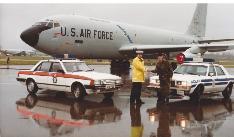United States Air Force Fairford in 1984 Chris Jones  with of the officers from the  military police. (Gloucestershire Police Archives URN 7827) | Photograph from Chris Jones