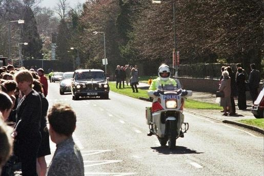 Her Majesty  the Queen Mother travelling along Albert Road Cheltenham on her way to the races. (Gloucestershire Police Archives URN 7829)   Photograph from Martyn Hillier