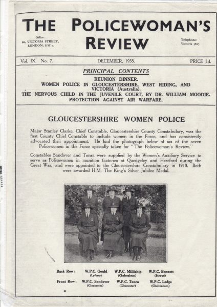Cover of Policewoman's Review with article about Gloucestershire Women Police December 1935. (Gloucestershire Police Archives URN 7834)