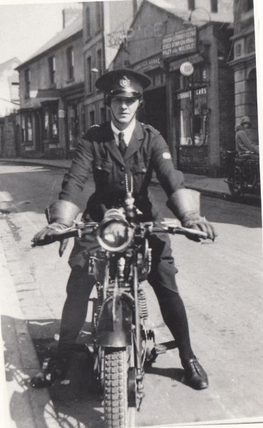 Mabel Lodge on her motorbike (Gloucestershire Police Archives URN 7850)