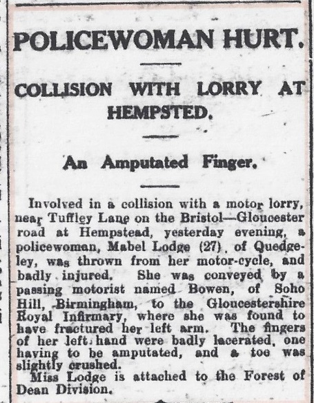 Citizen January 3rd 1929 Woman Police Constable Lodge had to have her finger amputated after an accident on her motorcycle while on duty. (Gloucestershire Police Archives URN 7851)