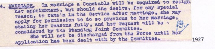Marriage condition for policewomen from 1927 signed by Janet Gray (Gloucestershire Police Archives URN 7843)