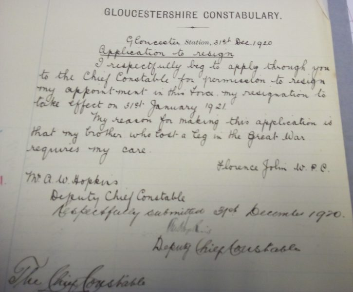 Florence Jolin application to resign 31st December 1920 (Gloucestershire Police Archives URN 7845)