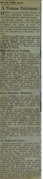 Police women in the press 1930s (Gloucestershire Police Archives URN 7846)