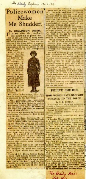 Daily Express February 1930 and Daily Mail February 1931. Policewomen Make Me Shudder and Police Brides. (Gloucestershire Police Archives URN 7847)