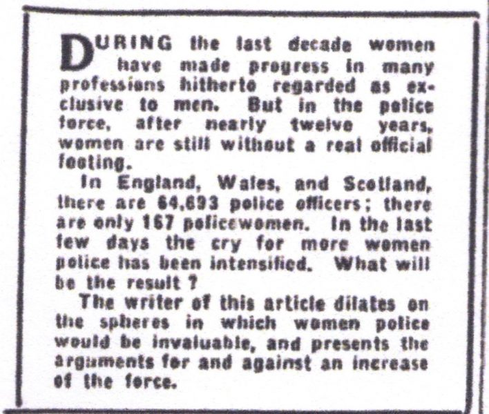 Citizen 18 March 1931 article about the  lack of policewomen (Gloucestershire Police Archives URN 7840)