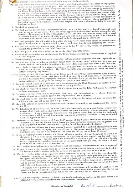 Conditions of employment for policewomen signed by Edith Cooper 1922 (Gloucestershire Police Archives URN 7842)