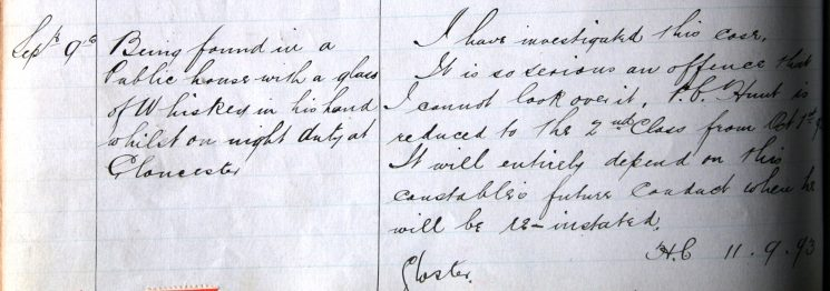 Police Constable Hunt September 1893. Found drinking in a public house on duty (Gloucestershire Police Archives URN 7892)